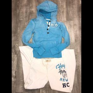 Hollister sweatshirt Sz L and sweatpants SzM EUC